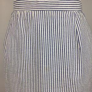 Vintage Blue White Stripe Seersucker Midi Skirt